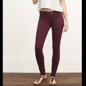 Abercrombie & Fitch burgundy jeggings jeans pants